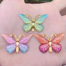 DIY 10pcs 23*38mm Colorful Butterfly Flat back Rhinestone and Appliques DIY Wedding scrapbook Accessories -B27 cheap Rhinestones Loose Rhinestones Bags Garment Shoes Acryl Self-Adhesive flatback YUSDTSHA Butterfly Gems