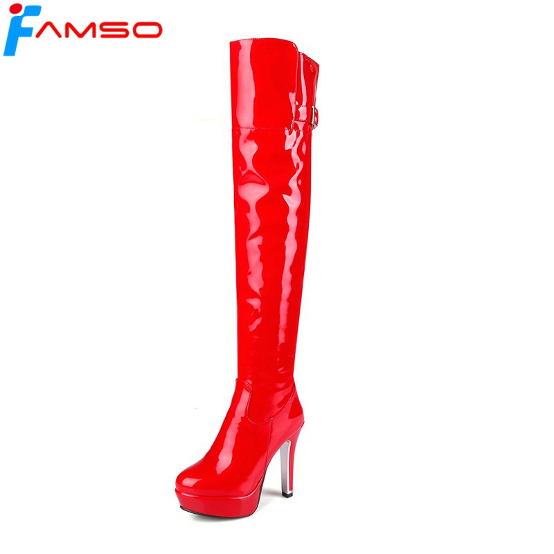 FAMSO Size 34-43 2017 Shoe Women Boots Black red Thigh High Boots Sexy Winter Patent leather Over the Knee Snow Boots SBT4408