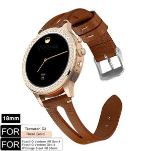 for Fossil Smartwatch 18mm Quick Release Classics Leather Watch Band Strap for Ticwatch C2 RoseGold,Fossil Q Venture Gen3/Gen 4