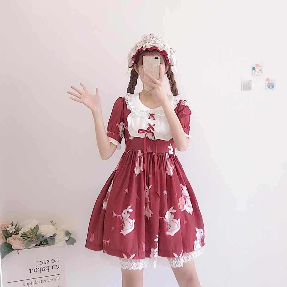 Vestido Lolita Doce Coelho Bonito Kawaii Japonês Meninas Princesa Empregada Gótico Do Vintage Impressos Padrões de Renda Branca Saia de Verão Vermelho