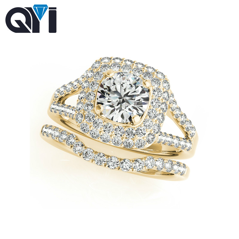 QYI Solid 14K Yellow Gold Double Halo Engagement Sets Fine Round Cut Simulated Diamond Wedding Ring For Womens JewelryQYI Solid 14K Yellow Gold Double Halo Engagement Sets Fine Round Cut Simulated Diamond Wedding Ring For Womens Jewelry