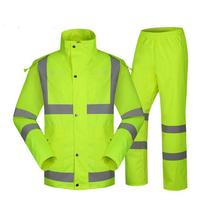 SPARDWEAR Waterproof High Visibility Reflective Heated Strips Jacket And Pant Fluorescent Yellow Split Raincoat Free Shipping