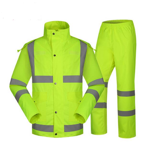 SPARDWEAR waterproof high visibility reflective heated strips jacket and pant rain suit rainwear raincoat free shipping new high visibility fashion rainwear rain suit reflective jacket waterproof trousers safety clothing workwear free shipping