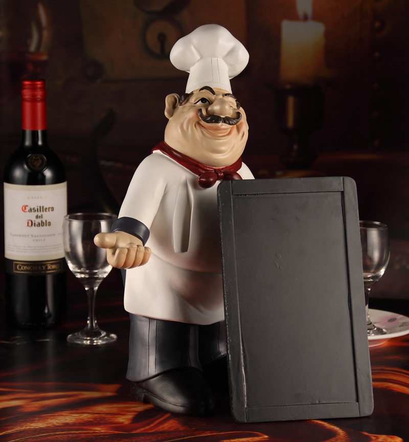 Amiable chef statue message board decorative resin kitchen