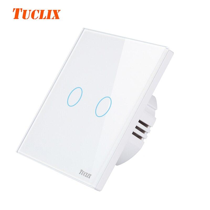 TUCLIX UE 2 Gang 1 remoto Interruptor táctil de Control remoto de pared con Panel de cristal Cystal blanco