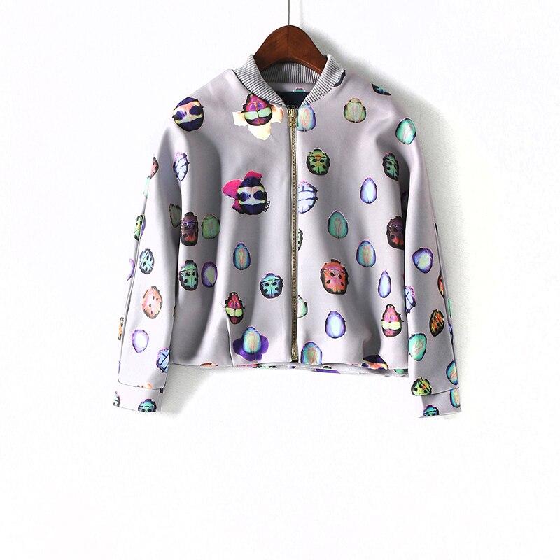 2018 hot sale female casual Beetle Printing Women short coat   basic     jackets   ladies bomber   jackets   WWT16266