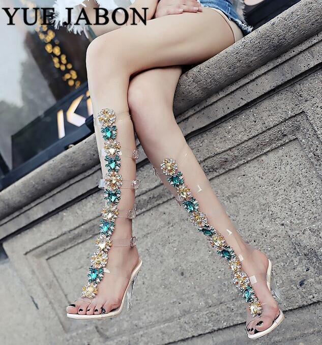 Sexy Pvc Transparent Gladiator Sandal Woman Open Toe T-strap Rhinestone Diamond Clear High Heel Shoes Women Summer Long Boots