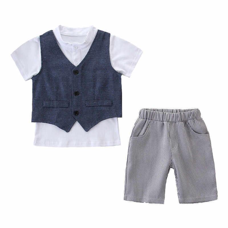 เด็กทารกสุภาพบุรุษสุภาพบุรุษชุดเสื้อแขนสั้นสั้น + เสื้อกั๊ก + กางเกงขาสั้นลาย 3 Pcs เสื้อผ้าเด็กวันเกิด Baptism Party ชุด