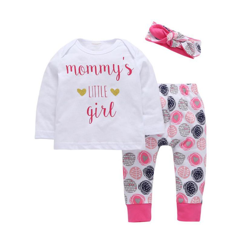 Autumn New Baby Girl Clothes Newborn Kid Baby Girl T-shirt Tops+Long Pants +Headband 3Pcs Outfits Clothes Set