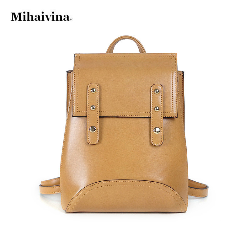 Fashion Women Oil Wax Leather Backpacks For Teenage Girls School Rivet Backpack Bag Ladies Female Casual Vintage Shoulder Bags. 2016 fashion women backpacks rivet soft sheepskin leather bags shoulder for teenage girls female travel bag free gift