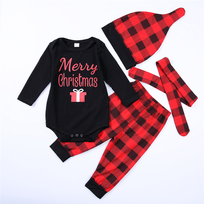 Infant Boys Girls Christmas Outfits Newborn Baby Cotton Romper+Pant+Hat 3 PCS Set My First Christmas Baby Girls Clothes D1028 sr039 newborn baby clothes bebe baby girls and boys clothes christmas red and white party dress hat santa claus hat sliders
