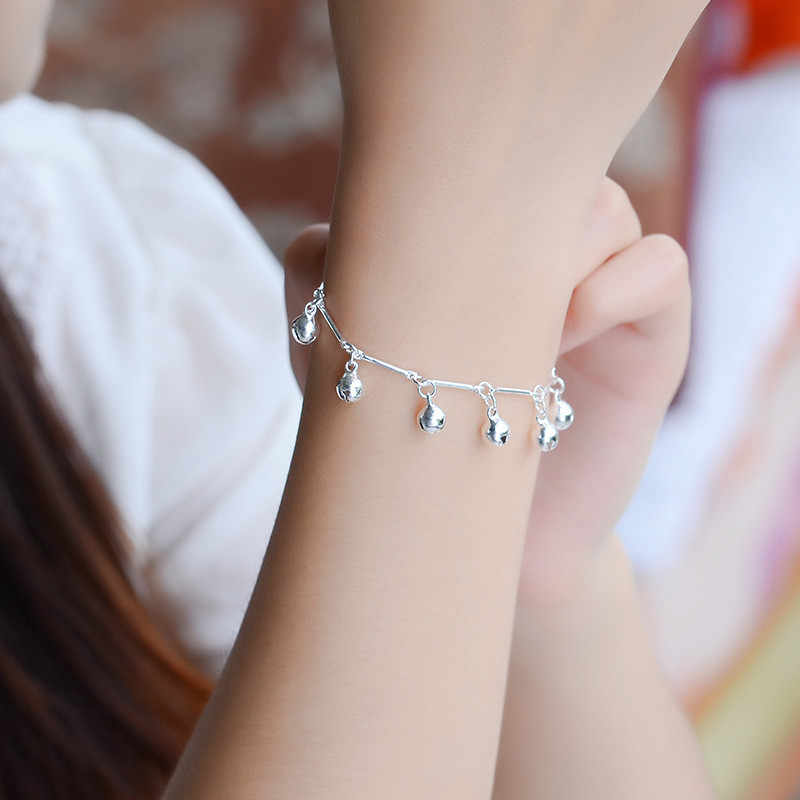 TJP Одежда высшего качества 925 серебряные браслеты для Для женщин ювелирные изделия бамбука цепь колокола девушка Браслеты женские вечерние аксессуары Рождество