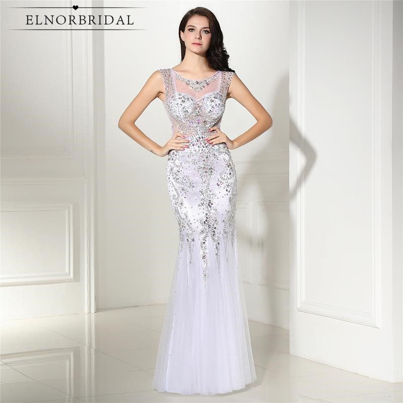 Elegant White Mermaid Evening Dresses 2019 Robe De Soiree Avondjurk Formal Party Dress Illusion Back Sheer Beading Prom Gowns