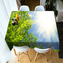 3d Birch Forest Pattern 3D Round Tablecloth Home Decor Green Landscape Washable Polyester Cotton Rectangular Table Cloth