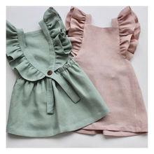 Летнее повседневное милое летнее однотонное нарядное платье принцессы с оборками для маленьких девочек, одежда