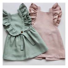 Verão casual bonito infantil crianças bebê menina verão cor sólida plissado princesa vestido de festa roupas