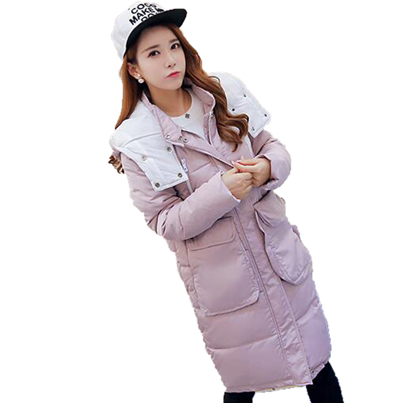 Women Basic Coats Winter 2016 Hooded Slim Medium Long Solid Color Cotton Parka Plus Size Casual