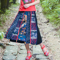 Mori National Summer Trend Skirt Women Casual Chinese Style Floral Skirt Stereo Pendant Vintage Fluid A