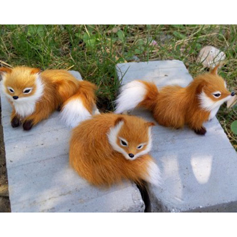 Simulation Animal Fox Plush Genuine Leather Toy Plush Doll Toy For Kids Birthday Gift simulation animal large 28x26cm brown fox model lifelike squatting fox decoration gift t479