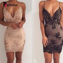 BEFORW Female Sexy Club V neck Party Dress Sundress Luxury Black Sequin Dress Women Bodycon Backless