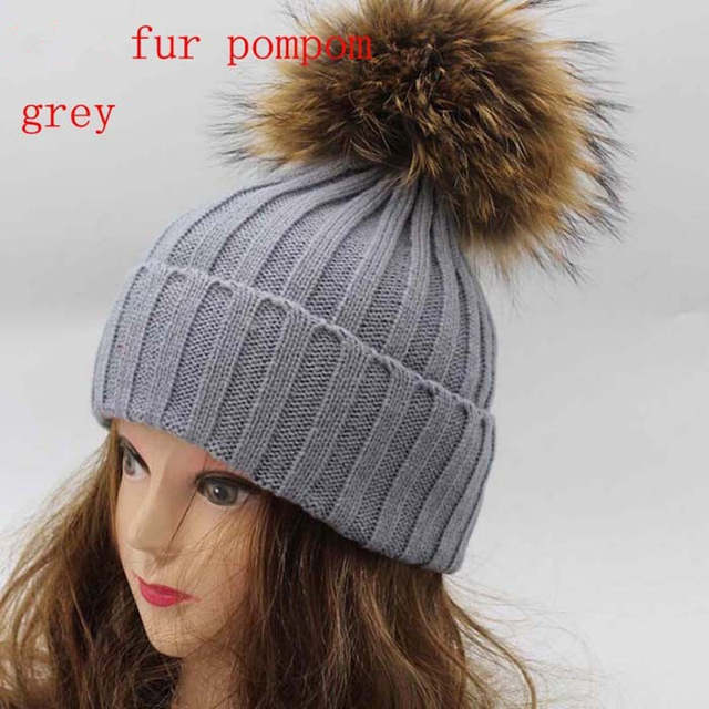 Real Racoon Fur Pom Pom Winter Hats Wool Knit Winter Bobble hat cap Beanie  Hat With 6d1006e1ffd