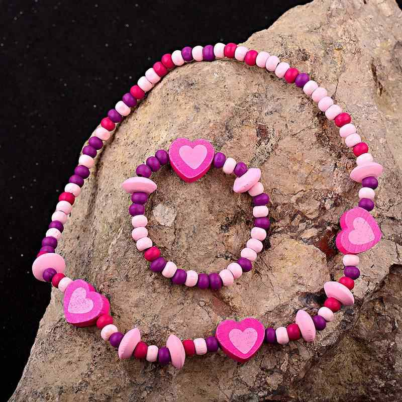 TopHanqi Lovely Heart Girls Jewelry Sets Colorful Wood Beads Necklace Bracelet For Kids Children's Birthday Party Jewelry Gift