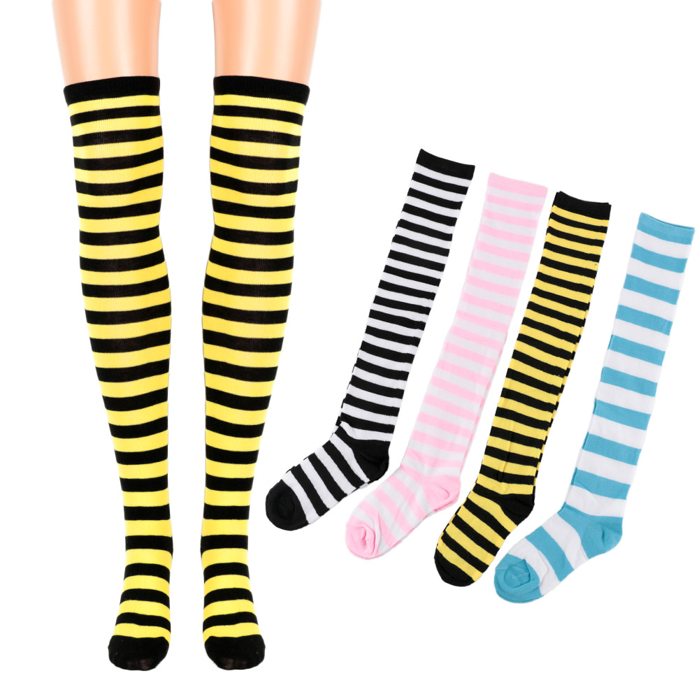 New Style Women Zebra Striped Over The Knee Socks Plain Striped Green Stocking High Free Size Dress Clothes Accessories