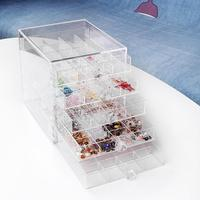 100 Grid Acrylic Makeup Organizer Storage Box Cosmetic Nail Display Stand Showing Shelf Plastic Empty Storage Box