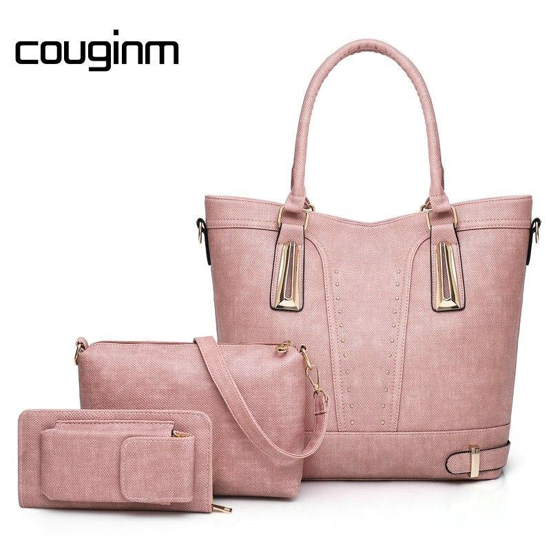 COUGINM Women Bag Vintage Messenger Bags PU Leather Shoulder Handbag Women  Top-Handle Rivet Composite Bag Purse Wallet c830705f9e