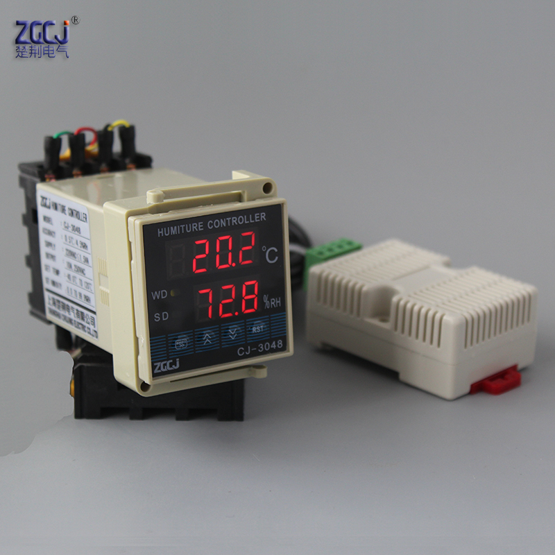 Small size 48*48mm DIN 35mm mounting humidity and temperature controller temperature and humidity meter with humiture sensor temperature and humidity sensor protective shell sht10 protective sleeve sht20 flue cured tobacco high humidity