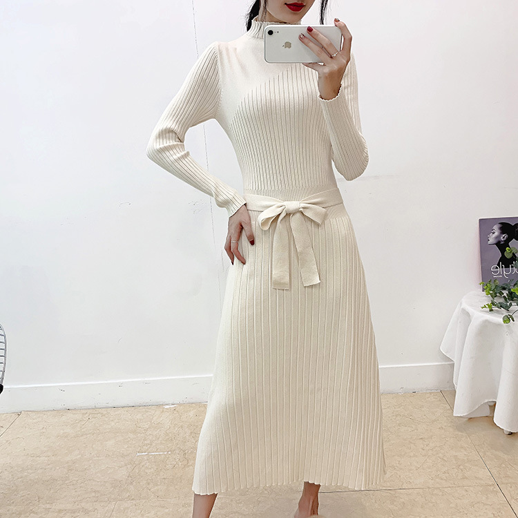 Elegant Autumn Winter Pleated Women Long Sweater Dress Chic Turtleneck Full Sleeve Sashes Vestidos Female A Line Knitted Dress in Dresses from Women 39 s Clothing
