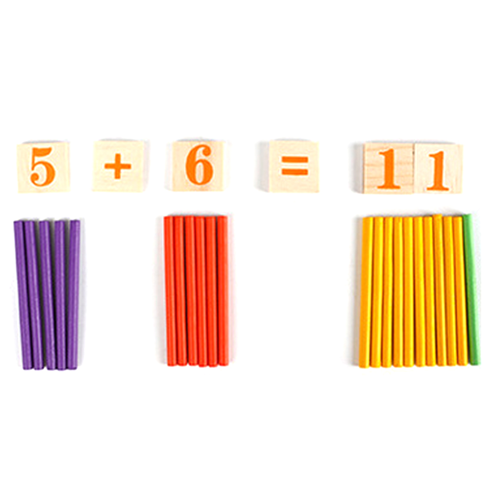 Wooden Montessori Math Counting Rod Sticks Toy Kids Math Early Learning Intelligence Dev ...