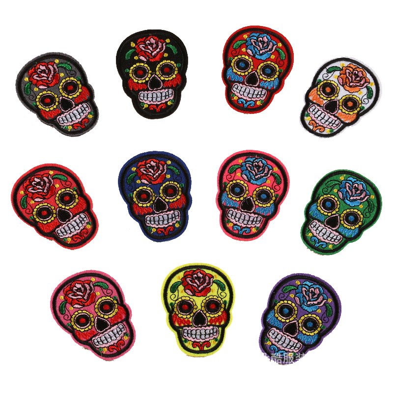 Flower Iron-on Patch Skull Patches Stickers Clothing Embroidery Multicolor Rose Skeleton Sew Patch Applique Badge Embroidered