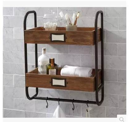 American Wood Iron bathroom towel rack shelf Storage Rack Shelf two ...
