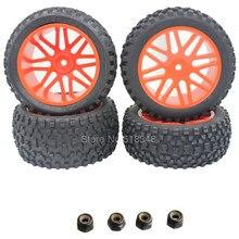 4 unids/set Goma Delantera/Trasera 1/10 Buggy Neumáticos y Llantas 12mm hexagonal para el modelo de rc coche hsp redcat off neumático de carretera