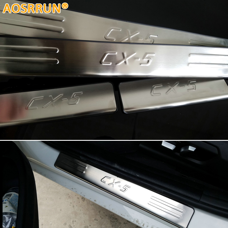 AOSRRUN Stainless Steel scuff plate door sill Trim Car Accessories For 2013 2014 2015 2016 Mazda CX-5 CX5 Car-Styling for mazda cx 5 cx5 2017 2018 2nd gen lhd auto at gear panel stainless steel decoration car covers car stickers car styling