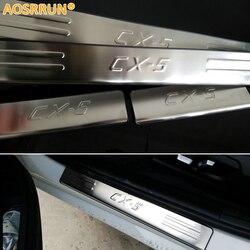 AOSRRUN ze stali nierdzewnej płyta chroniąca przed zarysowaniem próg drzwi akcesoria do wykończeń samochodowych dla 2013 2014 2015 2016 Mazda CX 5 CX5 samochód stylizacji w Listwy wewnętrzne od Samochody i motocykle na