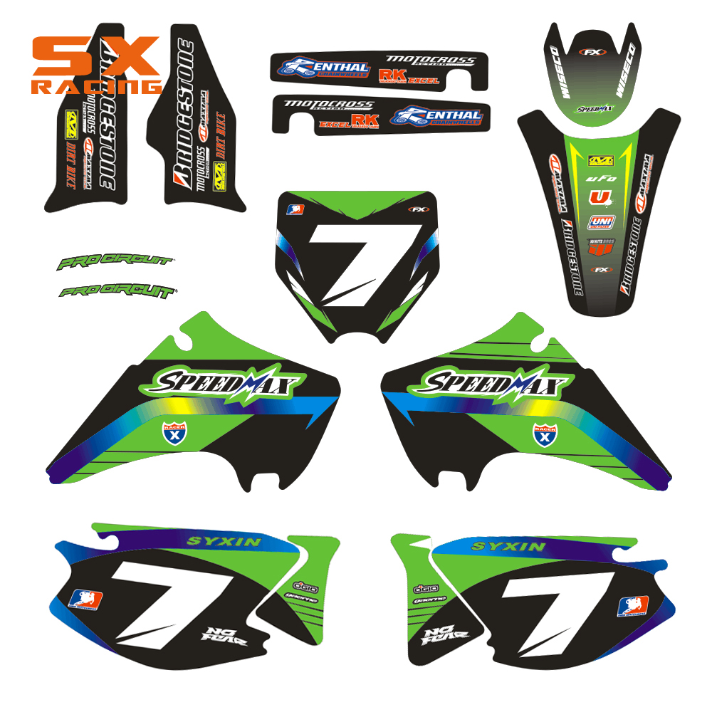 Motorcycle Decals Customize Pattern Custom Made Stickers Set For KAWASAKI KX 125 250 KX125 KX250 2003 2004 2005 2006 2007 2008 motorcycle leather soft anti slip seat cover for kawasaki kx125 kx250 kx 125 250 1994 1995 1996 1997 1998 motocross dirt bike