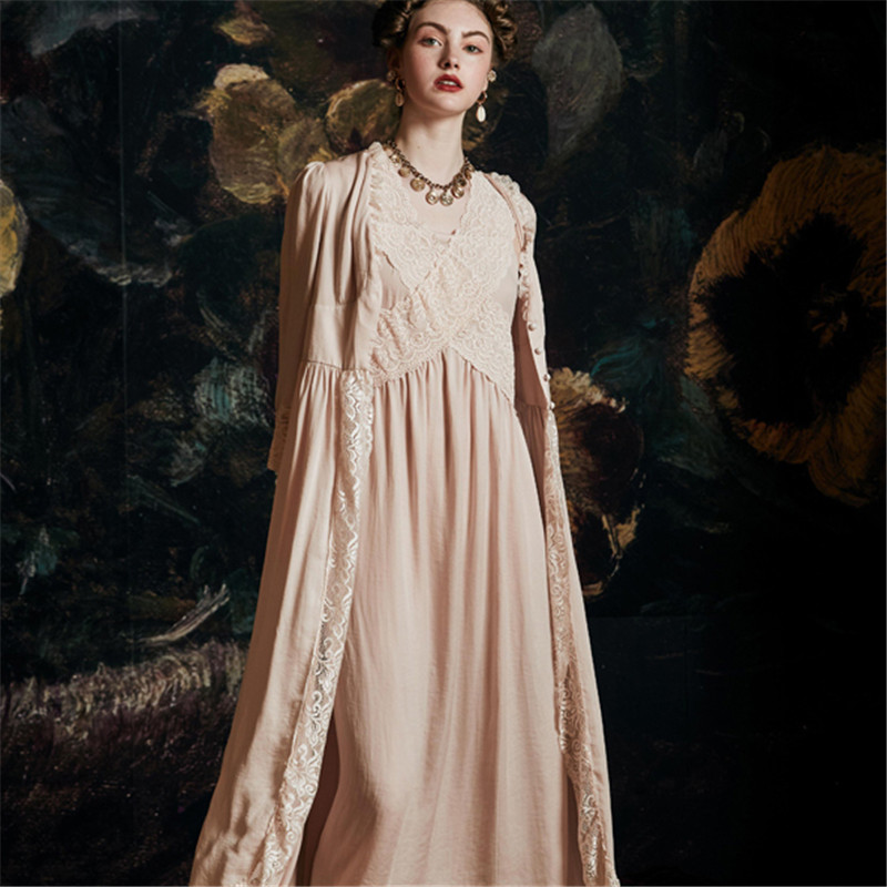 Palace Sleepwear Female Summer Nightdress Thin Luxurious Sexy Sleeping Robe Princess Wind Bathrobes Woman 2020 Latest HS4058