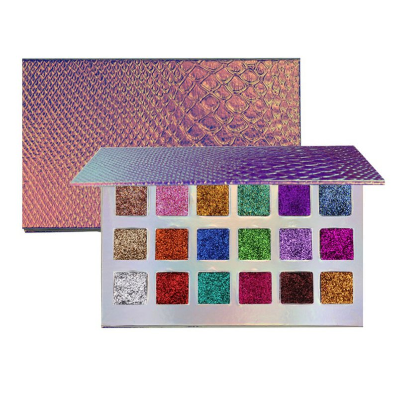 Fish-scale Patterns Magnetic Glitter Eyeshadow Palette 18 Colors Waterproof Diamond Rainbow Makeup Eye Shadow Magnet Palette