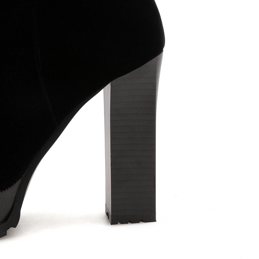 Brand Doratasia Noir Chunky Talons Top Bottes 43 33 Femmes New Taille Hauts mollet Qualité Gros Mi Femme En Plus Chaussures fwqyxwd1C