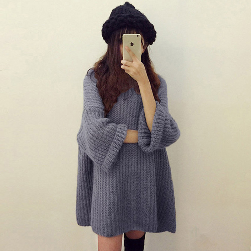 Women Sleeves In Autumn Winter Thickened Round Neck Loose Medium Length Large Size Bat Sleeves Sweater Collage Splicing Black