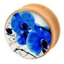 2pcs wood Blue Flower ear plugs Earring expander body jewelry flesh tunnel ear kits piercing plugs