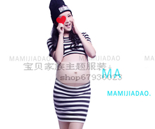 2015 New Maternity clothes for Photography Props pregnant women stripe Dress Pregnancy costume Summer style Free shipping