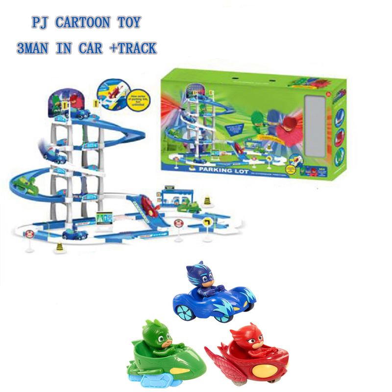 PJ Anime Mask 4 Floor Racing Track Figure Toy Les Pyjamasques Parking Lot Connor Greg Amaya Jouet Children Birthday Gift high quality tomy tomica set cars world alloy car parking lot educational toy tomica rail parking toy child s play birthday gift
