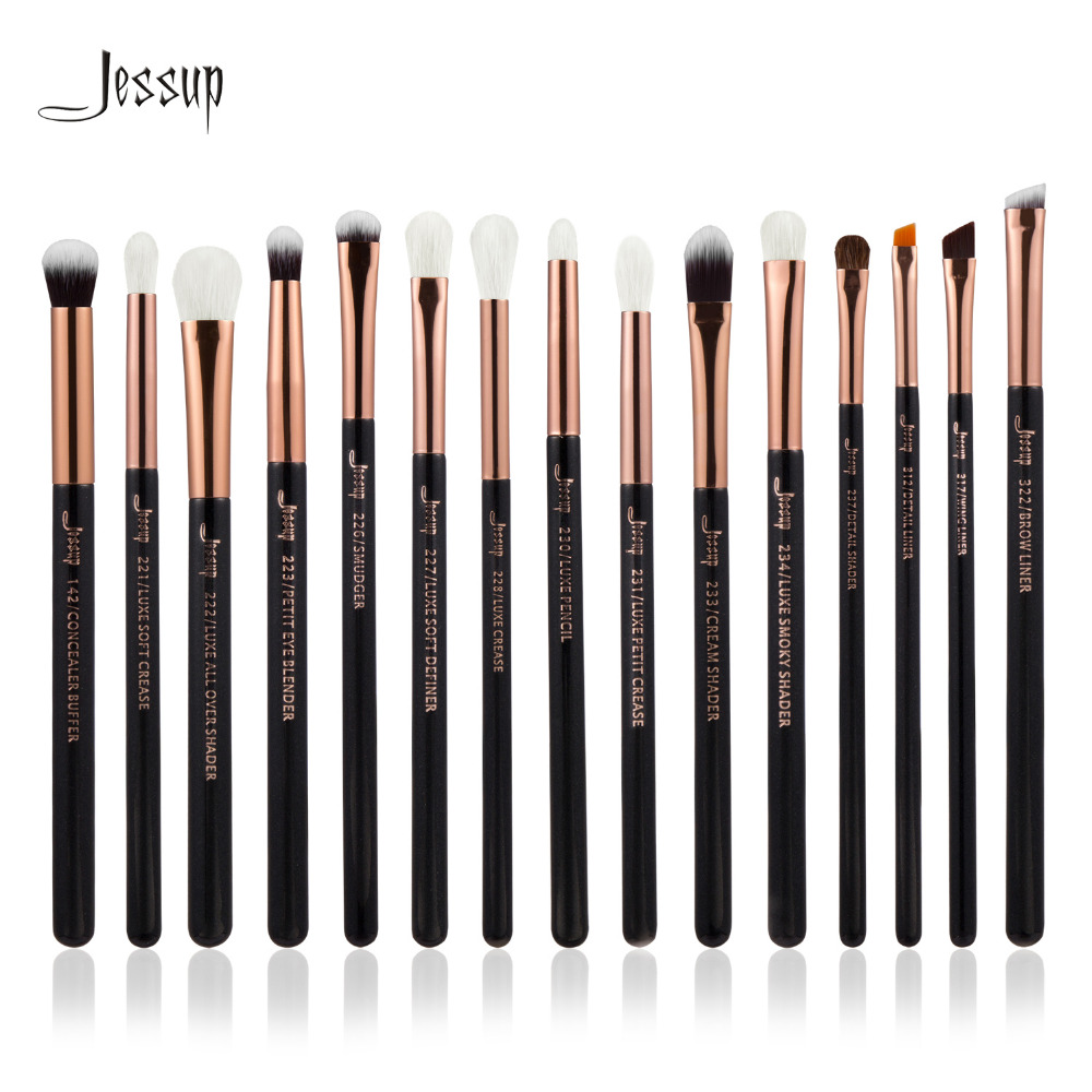 Jessup Brand Rose Gold/Black Professional Makeup Brushes Set Make up Brush Tools kit Eye Liner Shader natural-synthetic hair