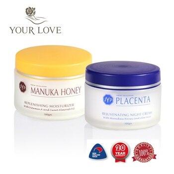 100%NewZealand Manuka Honey Moisturizer Day Cream+Sheep Placenta Night Face Cream Sets Rejuvenation Easy absorbing cream
