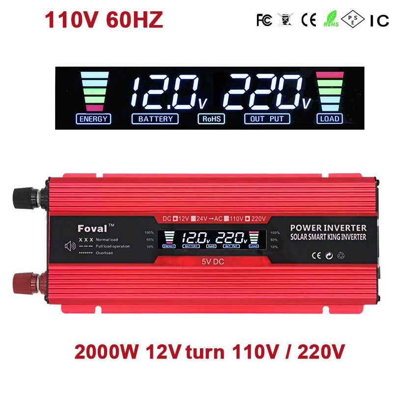 2018 Inverter 12v 220v 2000W 1000W Car Power Inverters Voltage Transformer Converter DC12V To AC110V/220V Charger Solar Adapter car inverter 12v 220v power inverters voltage transformer converter 12 220 1000w charger on display solar adapter 12v 220v dy104