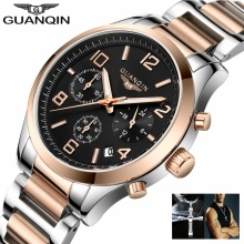 GUANQIN Watch Men Business Chronograph Date Luminous Wristwatch Mens Luxury Brand Stainless Steel Quartz Watch Relogio Masculino guanqin gf0524 racing speed master series luminous three eye sports watch quartz stainless steel men s double explicit black