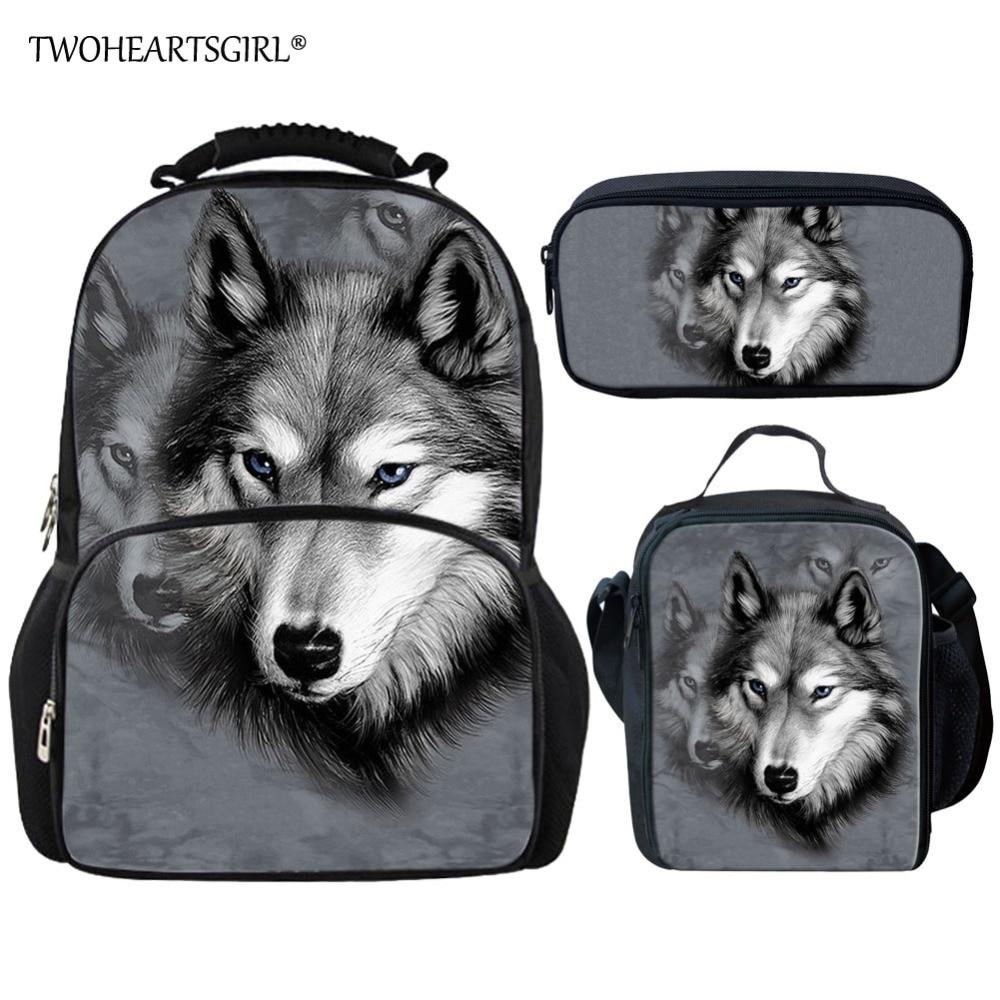 Twoheartsgirl Grey 3d Animal Wolf Print School Bag Set for School Girls Women Junior Children Kids Schoolbag Big Book Bags худи print bar wolf
